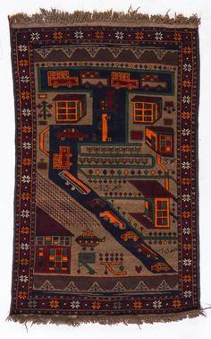 A pictorial Beluch rug, Afghanistan, century Multi Storey Building, Arte Popular, Kilims, Central Asia, Tapestries, Afghanistan, Rugs On Carpet, Bohemian Rug, Weaving