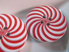 5 Peppermint Candy Cane Buttons- 30mm- Christmas Whimsical Dr. Seuss Spiral Sewing- Scrapbooking- Jewelry Making- Crafts