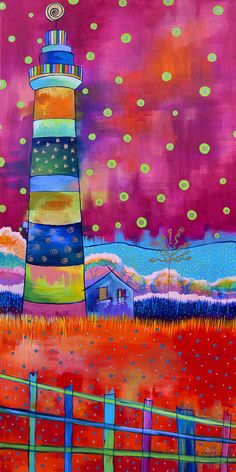 """Lighthouse and Fence"" by Carolina Coto. You can see more at www.carocoto.com and www.facebook.com/ArteCarolinaCoto"
