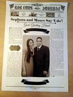 A Love Story To Last Forever in Newsprint! Page through this Love Story Wedding Favor ♥  ♥  ♥ LIKE US ON FB: https://www.facebook.com/NewsFavors  ♥  ♥  ♥ #Wedding #Favour #Keepsake #Favor