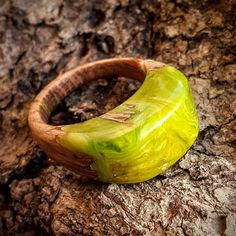 Size 7  Wood Resin Ring  Pistachio green