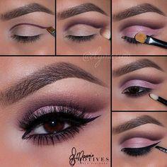 Cut crease pulm and pink step by step makeup tutorial #makeup #tutorial #evatornadoblog #stepbystep #mycollection #cutcreasetutorial