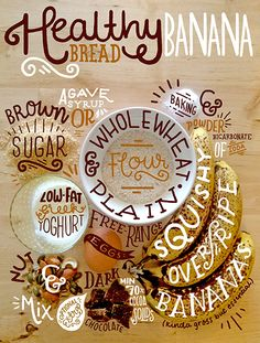 Hand Lettered banana bread ingredient list. www.stephsayshello.co.uk