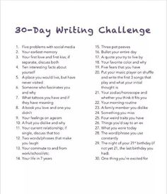 #30daychallenges #writing #write #prompts #list