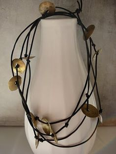 Necklace, leather, discs