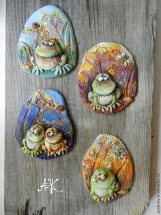 """Купить """"Лягух разнообразный"""" , керамический магнит - лягушка, Керамика, глина, лягушонок, магнит, сувенир"""