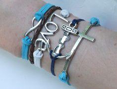 Antique Silver Bracelet, Love Bracelet, Infinity Bracelet, Anchor Bracelet, Cross Bracelet