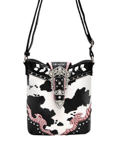 Another great find on #zulily! Cowgirl Trendy Black Cow & Crocodile Belt Crossbody Bag by Cowgirl Trendy #zulilyfinds