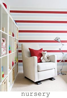 Baby Boy bedroom. Different colored strips