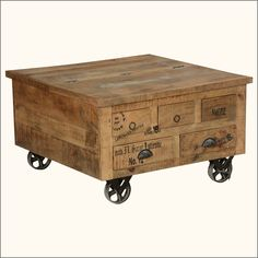 Style Solid Wood Square Storage Trunk 5 Drawer Coffee Table