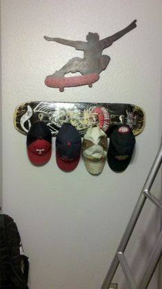 Hat Rack Ideas - This will give you a inpiration for your space. Check here Tags: DIY hat rack ideas for men baseball display for girls for women wood easy kids organizations rustic cowboy pallet closet storage creative Boys Room Decor, Boy Room, Kids Bedroom, Bedroom Ideas, Skateboard Decor, Skateboard Furniture, Diy Hat Rack, Hat Shelf, Deco Kids