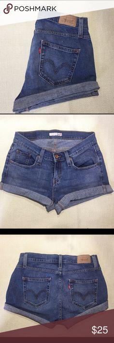 """Levi's Curvy 529 Shorties Don't miss out on these denim shorts that make booty a goddess. Cut into shorts from a pair of Curvy Bootcut 529 Levi's, these were meant for ladies with curves as you can see from the higher back rise. Tag says 4 medium, waist measures 28.5"""", 35.5"""" hip Levi's Shorts Jean Shorts"""
