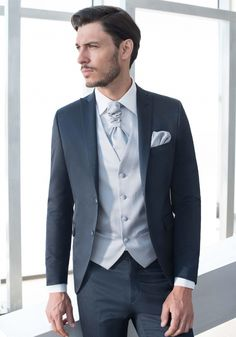 Peaked Lapel Two Buttons Silver VentTie Handkerchief Navy Bule Suits  Fashion Suits Men Cusutme Made Formal Office Terno feeb0a10980