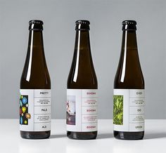 During the Spring of high-end craft brewer O/O Brewing released three new beers: A rich-in-flavor pale ale called Pretty Pale Ale, a saison made with Pilsner Malt and Saaz Hops called Bohemia and Evergreen, is a flavorful IPA inspired by conifer. Wheat Beer, Bottle Packaging, Juice Packaging, Beverage Packaging, Coffee Packaging, Bottle Design, Home Brewing, Craft Beer, Rock