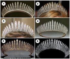 Six Diamond Fringe Tiara's (1-Princess Mary's Fringe (British) (2-Princess marie-Chantal's Fringe (Greek) (3-Habsburg Fringe- (Liechtenstein) (4- Queen Mary's Fringe-(British) (5- Kent City of London Fringe, (British) (6-Fringe formerly belonging to Queen Maria of Yugoslavia
