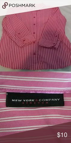 5a38ff61 New York & Company blouse S Pink and white striped. Button down with 3/4  sleeves. Buttons on sleeves New York & Company Tops Blouses