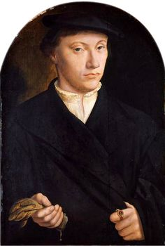Barthel Bruyn the Elder, Portrait of a Young Man with Gloves, oil on wood, 43.5 x 30cm, Kunsthistorisches Museum, Vienna