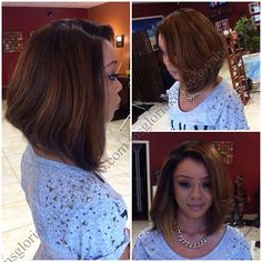 #bobhaircut #bobhair #laceclosure #haircolor #hairstylist #highlights #fullsewin #fullweave #coiffure for more info visit: StyleSeat.com/GLORIAKELLEY
