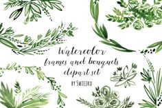 Watercolor Frames and Bouquets by swiejko on Creative Market