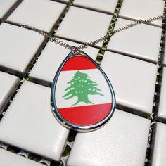 Lebanon National Flag Asia Country Symbol Mark Pattern Teardrop Shape Pendant Necklace  #Teardrop #Necklace #Jewelry #Gift #Decoration #DIY #Create #Simple #Design #Girl #Lebanon #National #Flag #Country #Culture
