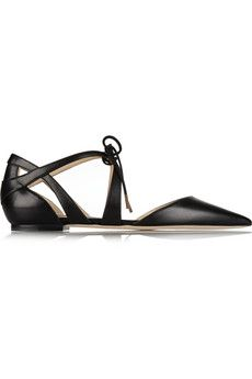 Jimmy Choo Lyssa leather point-toe flats | NET-A-PORTER
