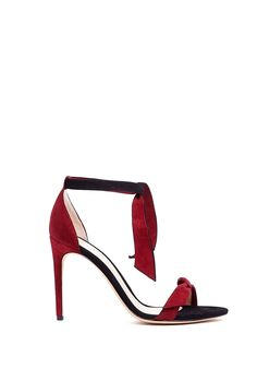 Alexandre Birman Contrast Peep Toe Ankle Bow Sandals in Red (black) | Lyst