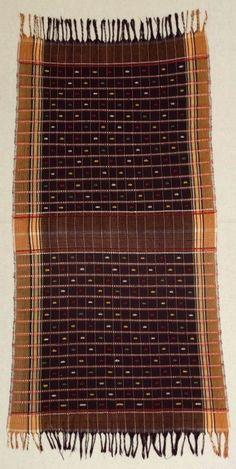 Africa | Wrapper (Akwete cloth) handwoven by the Ibo women from Akwete, Eastern Nigeria | Cotton with rayon supplementary weft | ca. 1950 - 1966.