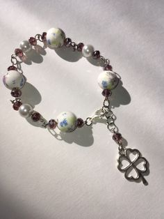 New from my Etsy shop https://www.etsy.com/ca/listing/483409545/4-leaf-clover-lucky-charm-bracelet-with