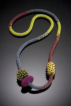 Shelley Jones. Bead crochet with embellished felted beads.