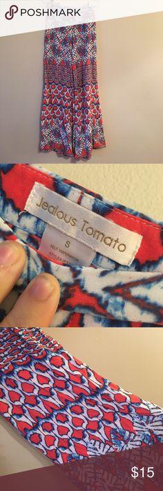 {Jealous Tomato} Pink Palm Leaf Palazzo Pants Size S. zipper on the size. EUC. Soft cotton. Perfect for spring ❤ All bundles 30% off. Jealous Tomato Pants Wide Leg