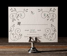 Letterpress Wedding Invitations   Hendrix 2 Design   Bella Figura Letterpress