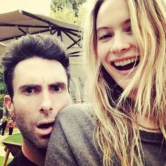 Adam Levine and Behati Prinsloo shared this smiley snap.