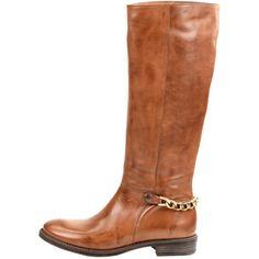 Stylische braune Stiefel von Sacha. Eine Kette an der Ferse lässt diese Stiefel einzigartig wirken! Sie passen zu vielen modischen Looks!