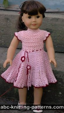 American Girl Doll Apple Blossom Dress/lots of free crochet patterns