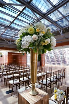 Beautiful Blooms, Marie Labbancz, Kimmel Center Ceremony and Reception, Garces Catering, Yellow, Navy, White and Gold Wedding, Dahlias, Roses, Hydrangea