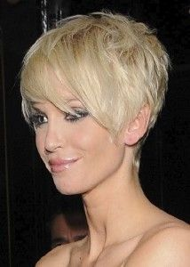 Great profile of this short blonde haircut-I like the back, maybe not as long in the front