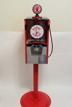 Vintage Northwestern Indian Mohawk gasoline station gumball machine – Custom Gumball Machine with watch and stand.