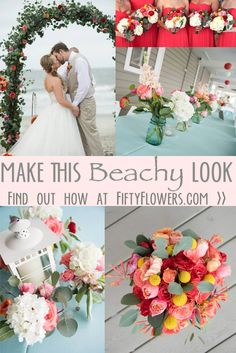 Bright and Cheerful, this look is perfect for a Beach Wedding! See how to Make this Look at FiftyFlowers.com!