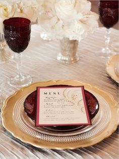 Burgundy chargers - paint cardboard or foamboard circles and use for chargers and/or under centerpiece