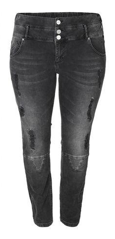 Carmakoma KETIL JEANS Distressed grey skinny jeans (for not-so-skinny bodies)