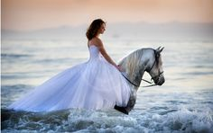 Girl on horse in ocean / on the beach. Bareback. White wedding (?) dress / gown. Equine Photography Workshop