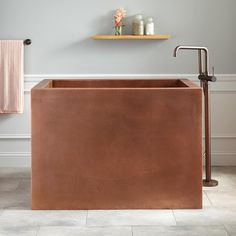 """48"""" Amery Rectangular Hammered Copper Japanese Soaking Tub   Length: 48"""" Width: 32"""" Height: 34"""" Tub Interior Length: 41-1/2"""" Tub Interior Width: 26"""" Water Depth to Rim: 30"""" Water Depth To Overflow: 27-1/4"""""""