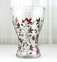 Hand Painted Glass Vase Deep Red Floral Design Home by witchcorner, $46.00