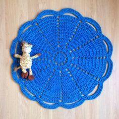 Blue Crochet Doily Rug by sevenPMstitches on Etsy
