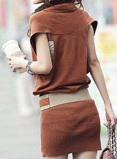 V Neck Raglan Sleeve Knit Dress Give Belt Sweater