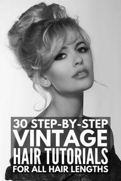 Vintage Waves Hair, Vintage Curls, Vintage Long Hair, Short Retro Hair, Pinup Hair Short, Vintage Bangs, Vintage Hairstyles Tutorial, Retro Hairstyles, Vintage Hairstyles For Long Hair