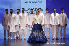 Sonakshi Sinha made for a lovely showstopper for Anita Dongre. The blue skirt lehenga and white jacket makes for a lovely fusion look. Super!