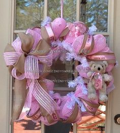 Baby Girl Wreath Baby Wreath Girl Wreath Pink by Cindyswreathsand, $75.00