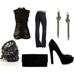 """Black Love"" by mkk0129 on Polyvore  Love the top, earrings, bracelet"
