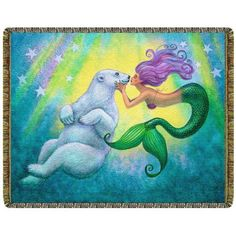 Mermaid Polar Bear Kiss Tapestry Throw Blanket  #yoga #blanket #healing #meditation #home #homedecor #decorating #reiki #spa #salon #healing #mermaid #polarbear #kiss